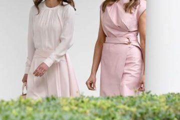الملكة رانيا ونظيرتها ميلانيا ترامب تطلقان صيحة الزهري الفاتح